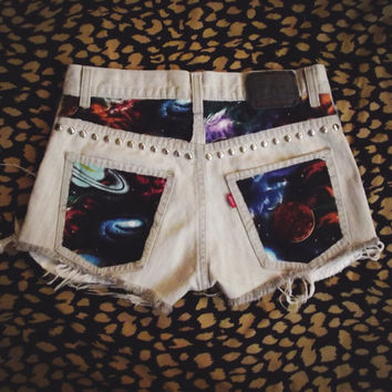 Galaxy Space Shorts by PeaceLoveStuds on Etsy