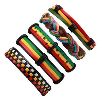 5PCs/set Rainbow Bible Leather Bracelet & Bangles Reggae Africa Jamaica Vintage Bracelet Men Jewelry Punk Rock Wrap Bracelets