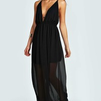Rosie Deep Plunge Chiffon Maxi Dress