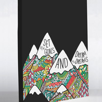 Goals and Dreams Mountains - Black Multi Canvas Wall Decor by Pen & Paint