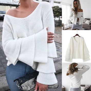 Leaf V-neck Tops Sweater [11335936263]