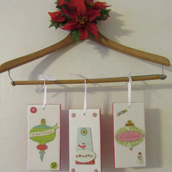 Charming Ceramic Tile Christmas Ornaments or Wall Decor - Set of 3