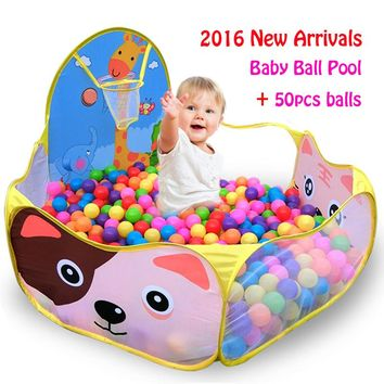 50pcs Balls+1.2M Baby Playpens For Children Outdoor/Indoor Foldable Kids Ball Pit Pool Tent Game House Toy Fencing Activity&Gear