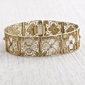 SALE - Antique Filigree Floral Bracelet - Vintage Art Deco Cannetille 800 Silver, Gold Wash Panel Bracelet / White Flowers