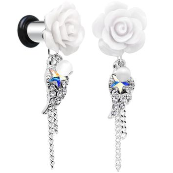 2 Gauge Clear Gem Angel Wing and White Rose Single Flare Dangle Plug