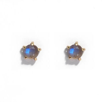 5mm Labradorite Stone Warrior Studs | 14k Gold or Sterling Silver Earrings