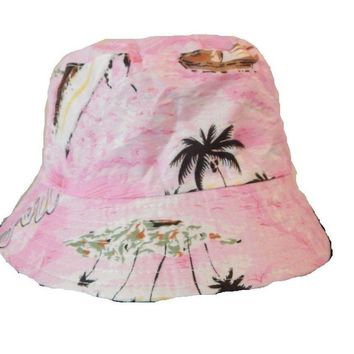 Mens Women Floral Boat Pink Bucket Hat Cotton Fishing Camping Cap Hunt