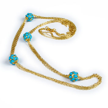 Kenneth Jay Lane Turquoise Station Multi Chain Necklace