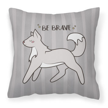 Nursery Be Brave Wolf Fabric Decorative Pillow BB7472PW1818