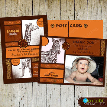 Safari invitation, Safari birthday, Safari party invite, Printable safari adventure invitation + thank you card / customized, orange, brown
