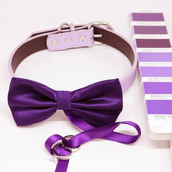 Purple Ring Bearer Dog Bow Tie Collar, Color of 2018 PANTONE 18-3838, Pet Wedding, Proposal