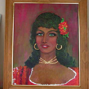 Original Painting Flamenco Dancer Kitsch Framed Painting Makielski Art Shop Mediterranean Folk Art Spanish Lady Portrait