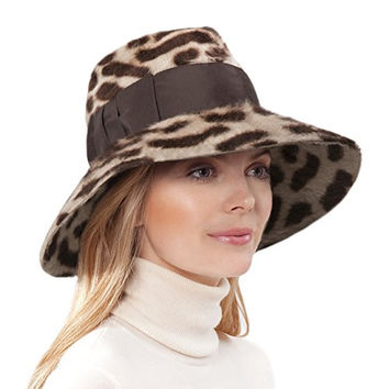 Eric Javits Women's Hat Luxury Headwear Tiffany Fedora in Brown Spots