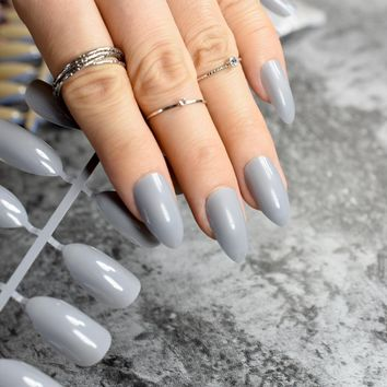 Candy Pure Grey Stiletto Nails Pointed Medium Size Artificial Fake Nail Art Tips Full Wrapped DIY Finger Makeup Decoration 585P