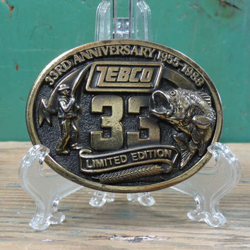 Zebco Brass Belt Buckle Limited Edition 33rd Anniversary 1955-1988 . Zebco Fishing Rod & Reel . Wide Mouth Bass . Made in USA