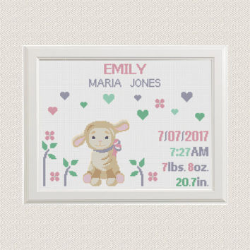baby girl Birth announcement cross stitch pattern animals lamb with hearts flower baby sampler birthday Nursery decor pink gray