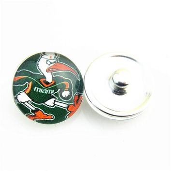 Free Shipping!18mm Glass NCAA Sports Miami Hurricane Team Snap Button Jewelry Fit Snap Leather Cuff Bracelet For Men Woemn