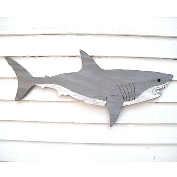 Wooden Shark Great White Large Sign Wall Art Beach Sign