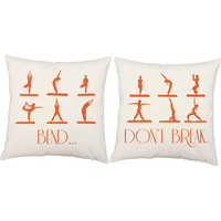 Bend Don't Break Yoga Pillow Pair - Yoga Poses Print Pillow Covers with or without Cushion Inserts - Namste, New Age Print Throw Pillows