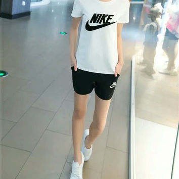 """Nike"" Fashion Casual Embroidery Letter Short Sleeve Set Two-Piece Sportswear"