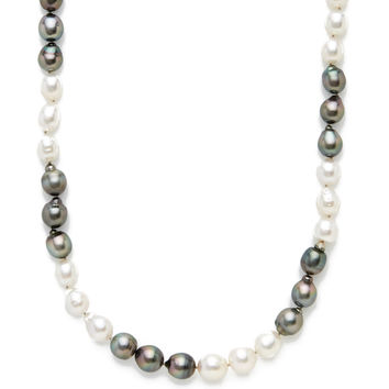 Belpearl Women's Baroque White South Sea & Tahitian Pearl Station Necklace