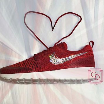 Women's Nike Roshe Run Flyknit Red/White with hand placed Swarovski swoosh
