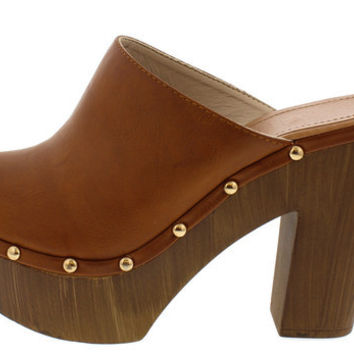 EMILY TAN STUDDED WOOD CLOG HEEL