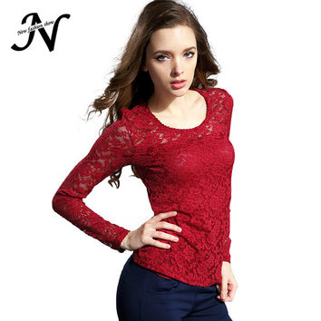 New Lace Blouse Fashion Crochet Lace Tops Long Sleeve Shirts Women Blouses Red Black Blue White Top Chemise Femme