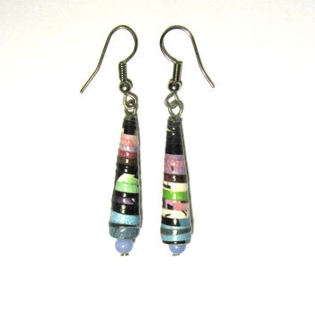 Paper bead earrings-Unique handmade earrings-Eco friendly jewelry-Natural jewelry-Glass beads-Handmade beads-Recycled jewelry-Recycled beads