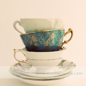 Stacked Tea Cups Photography 8x10 Wall Print - Antique Collection of Tea Cups