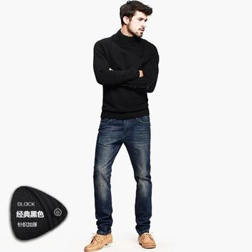 Free shipping mens turtleneck 100% cotton pullover sweater 8401