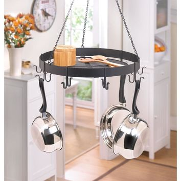 Pot Rack-Hanging Black Iron Circular