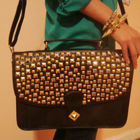 Black Studded Laptop bag