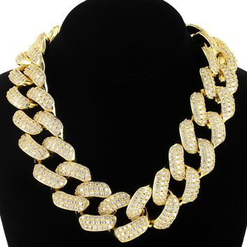 "Men's Heavy 30mm 18"" Iced Out Cuban Choker Necklace"