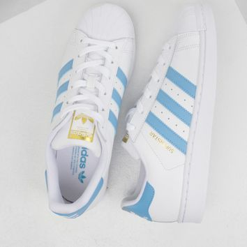 ADIDAS WOMENS SUPERSTAR IN WHITE & BLUE - Shoes