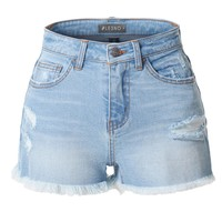 LE3NO Womens High Waisted Distressed Ripped Frayed Denim Shorts