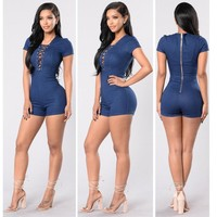 Women's Fashion Summer Denim Romper [10826062726]