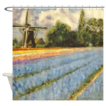 Spring Tulips Floral Shower Curtain> Holland Flowers Windmill Landscape Triptych 2 of 3> CdashNWH Fine Art Paintings