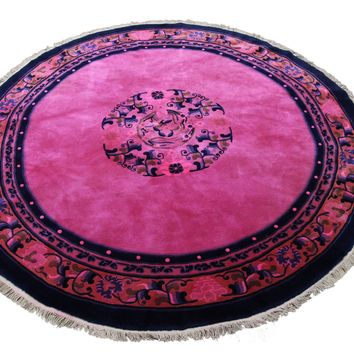 6x6 Overdyed Round Hot Pink Chinese Deco Rug 2912