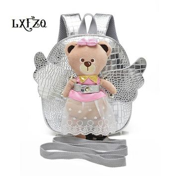 child bag mochila infantil Cute Angel Bear Anti-lost School Bags For Girls Leather PU backpack kids fashion Children's backpack