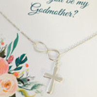 Godmother Necklace, Will you be my Godmother, Godmother gift, Sterling Silver Godmother Necklace, Godmother Jewelry