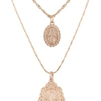Double Virgin Mary Pendant Choker Necklace