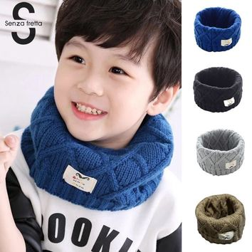 Senza Fretta Cute Cotton Winter Baby Scarf Children Girls Boys Knitted Wool O-Scarves Kids Solid Color Warm Scarf PSH6058