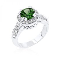 Emerald Halo Engagement Ring (size: 10)