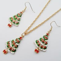 2017 Classic fashion Christmas jewelry sets,beautiful delicate necklace earrings jewelry sets for women, Christmas tree jewelry.