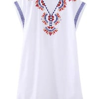 White V-Neck Embroidery Side Slit Shift Dress