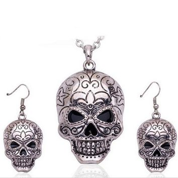 Ugly Skull Jewelry Set Silver Necklace Earrings Set