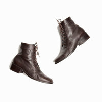 Vintage Brown Lace Up Leather Short Boots - women's 9