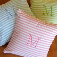 STRIPE PILLOW Monogram Initial Pillow Cover- Lemon Green, Pink or Baby Blue Personalized  18 x 18 Decorative Pillow- Typography Letter-