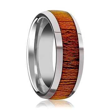 Tungsten Wood Ring - Mahogany Wood - Tungsten Wedding Band - Polished Finish - 8mm - Tungsten Wedding Ring
